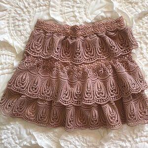 Self Portrait crochet blush skirt